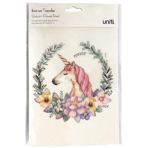 Uniti Iron-on Transfer Flower Unicorn