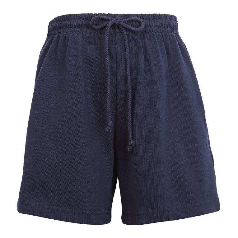 Schooltex Kids' Long Length Knit Shorts, Navy, hi-res