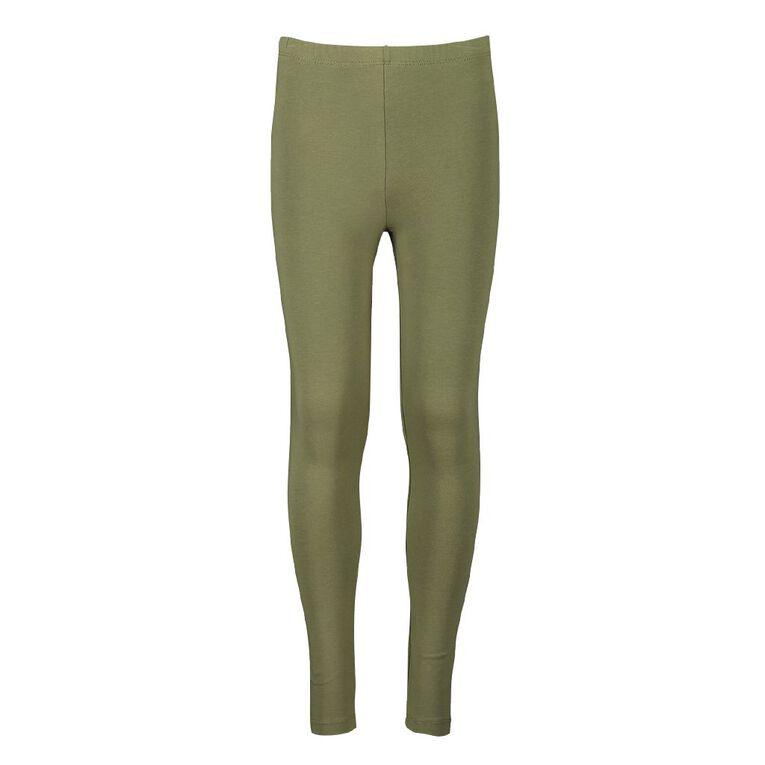 Young Original Girls' Coloured Leggings, Green Mid, hi-res