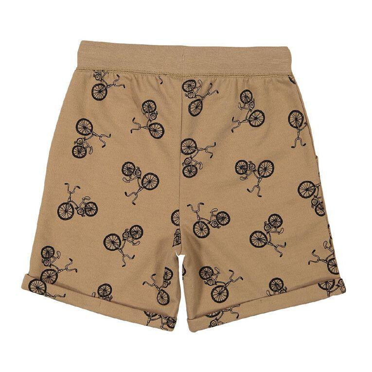 Young Original Hipster Print Shorts, Tan, hi-res