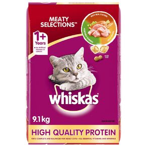 Whiskas Adult Dry Cat Food Meaty Selections 9.1kg Bag