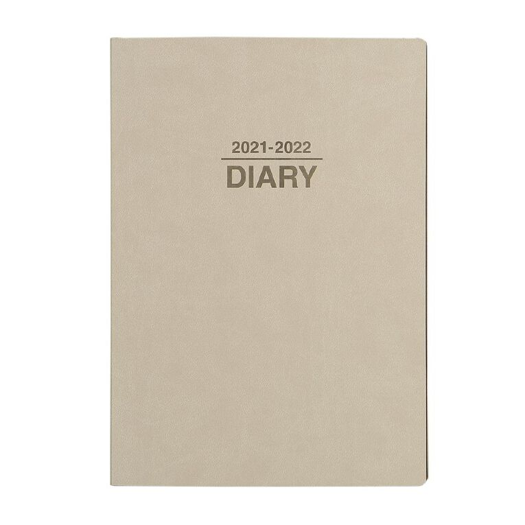 Dats Diary Mid Year 21-22 Week To View PU Brown A4, , hi-res