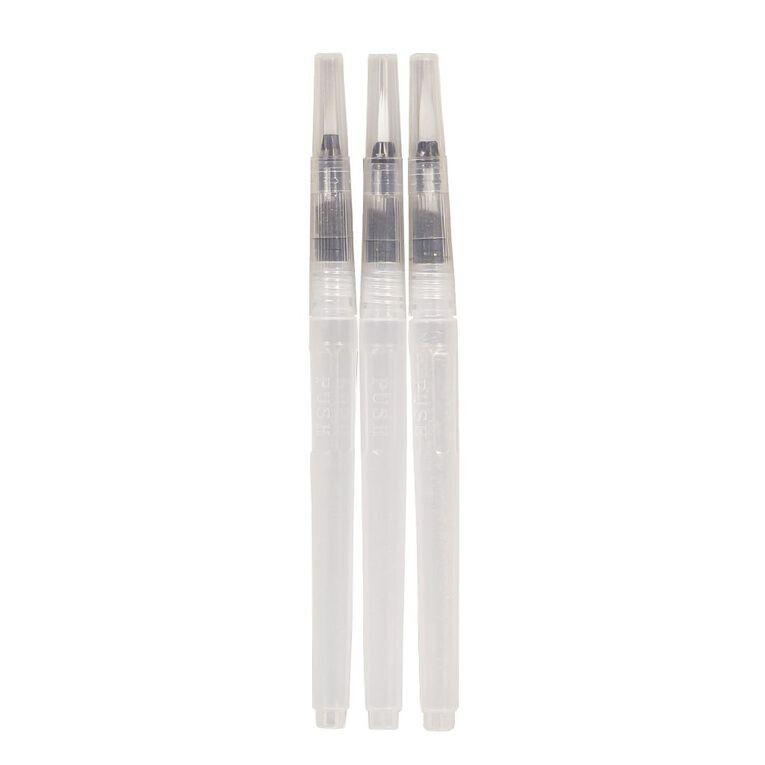 Uniti Water Brush Pens Clear 3 Pack, , hi-res