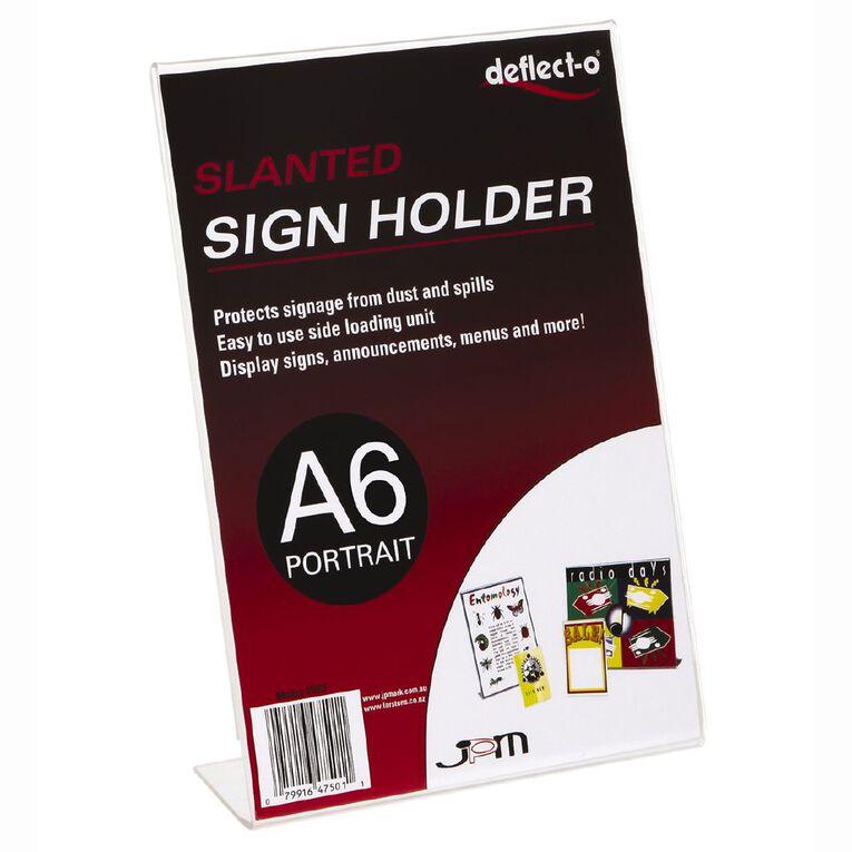 Deflecto Sign/Menu Holder Slanted Portrait Clear A6, , hi-res