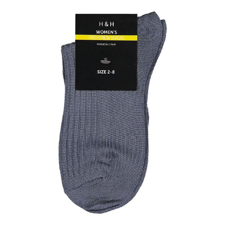 H&H Women's Anklet Socks 1 Pack, Blue Mid, hi-res