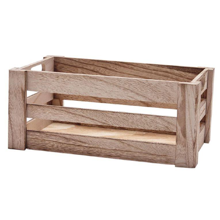 Living & Co Crate Wooden Small Natural 13cm x 23cm x 10.5cm, Natural, hi-res