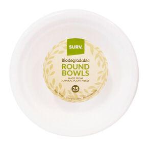 SURV. Biodegradable Bowls 18cm 25 Pack