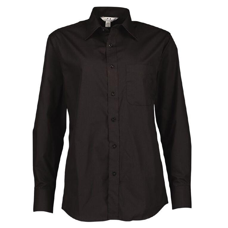 Schooltex Long Sleeve Poplin Shirt, Black, hi-res