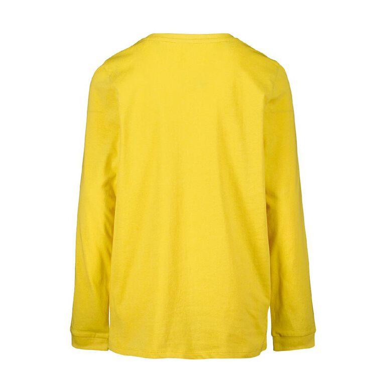 Young Original Long Sleeve Print Cuff Tee, Yellow, hi-res