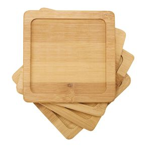 Living & Co Bamboo Coaster Square 4 Pack