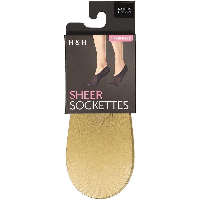 H&H Women's Sockettes 4 Pack, Natural, hi-res