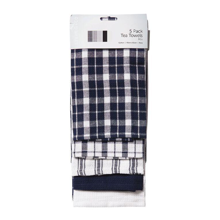 Living & Co Tea Towel Mix Set 5 Pack Navy 40cm x 65cm, , hi-res