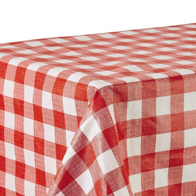 Living & Co Table Cloth Plastic Red/White 178cm x 132cm, , hi-res