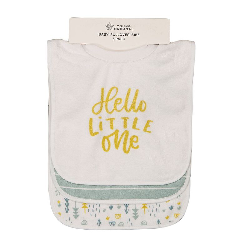 Young Original Baby 3 Pack Pull Over Bibs, Yellow Mid HELLO, hi-res image number null