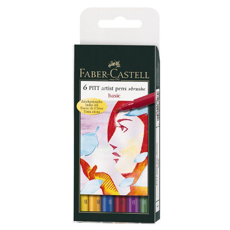 Faber-Castell Pitt Artist Brush Pens Basic 6 Pack, , hi-res