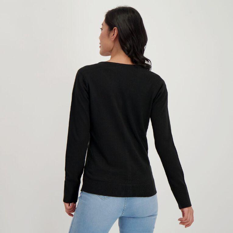 H&H Women's Button Through Cardigan, Black, hi-res