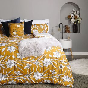 Living & Co Comforter Set 3 Piece Daffodils Yellow