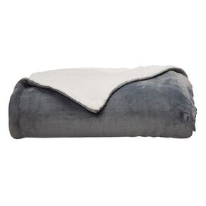 Living & Co Blanket Plush With Sherpa Reverse Quarry Grey Queen