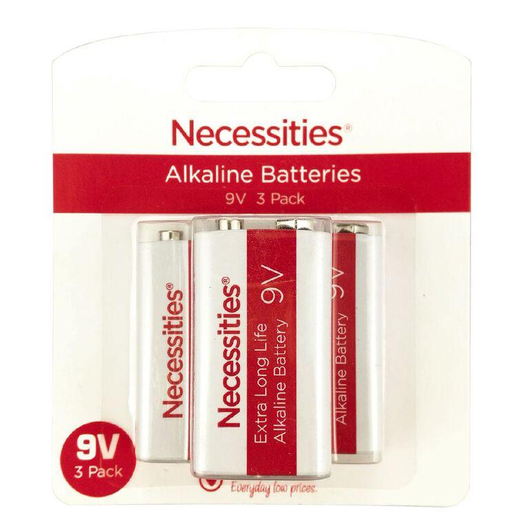 Necessities Brand Batteries 9V 6LR61 3 Pack, , hi-res