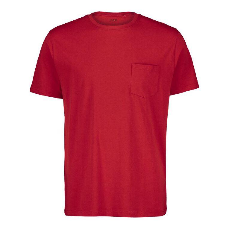H&H Crew Neck Short Sleeve Pocket Tee, Red, hi-res