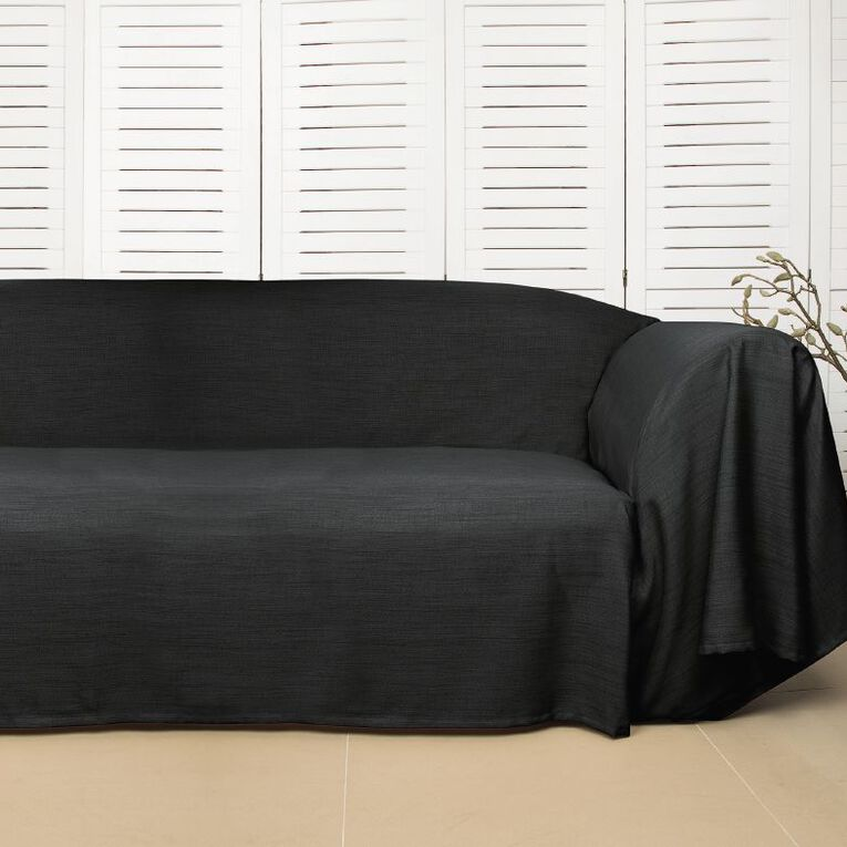 Living & Co Couch Cover Charcoal 1- 2 Seat, Charcoal, hi-res
