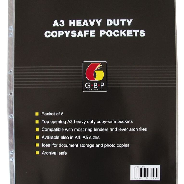 Office Supply Co Copysafe Pockets Heavy Duty PVC 5 Pack Clear A3, , hi-res