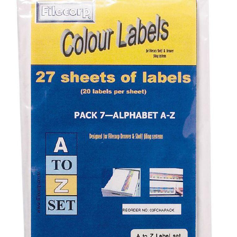 Filecorp Labels Set Alpha A-Z Half Sheet Pack, , hi-res