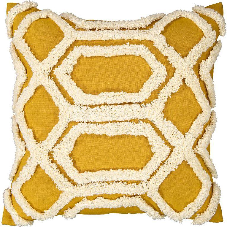 Living & Co Tufted Diamond Cushion Yellow 45cm x 45cm, Yellow, hi-res