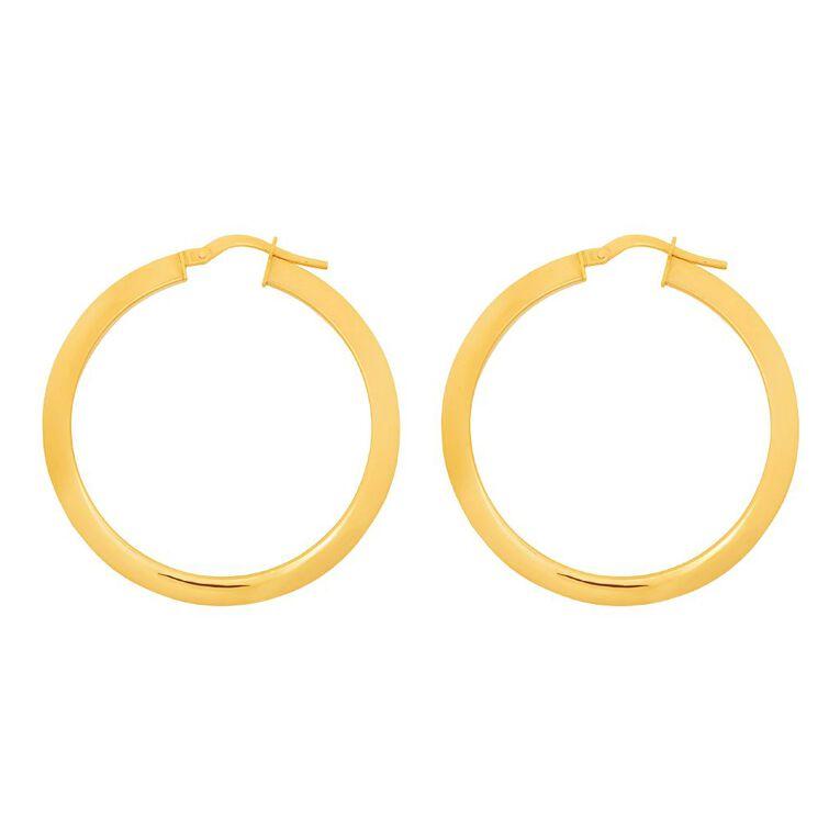 9ct Gold Tube Hoop Earrings, , hi-res