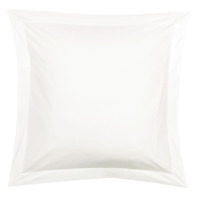 Living & Co Pillowcase Euro Cotton Rich 270TC White 65cm x 65cm, White, hi-res