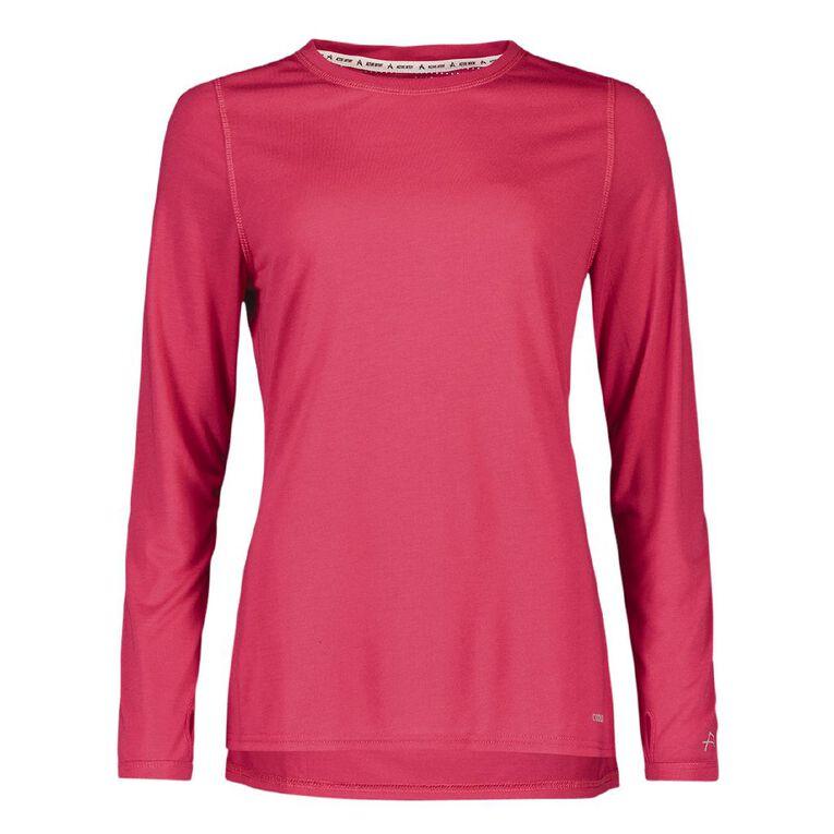 Active Intent Women's Long Sleeve Slice Back Tee, Pink Dark, hi-res image number null