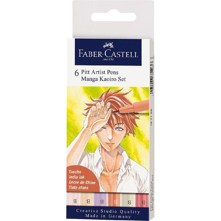 Faber-Castell Pitt Artists Pens Manga Kaoiro 6 Pack, , hi-res