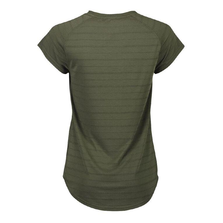 Active Intent Women's Placement Print Raglan Tee, Green Dark, hi-res
