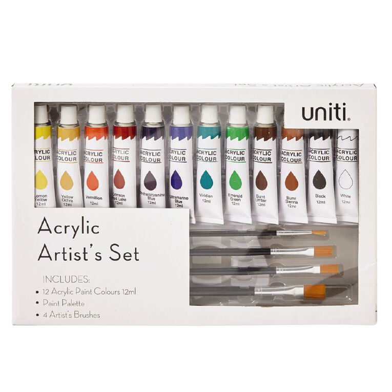 Uniti Acrylic Paint Palette and Brush Box Set, , hi-res