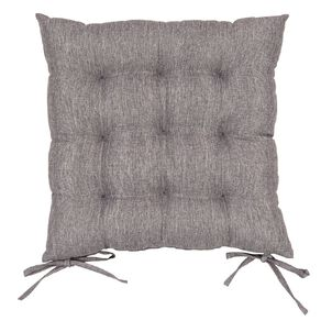 Living & Co Padded Chair Pad With Ties Charcoal 43cm x 43cm