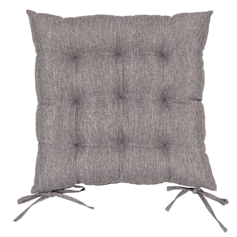Living & Co Padded Chair Pad With Ties Charcoal 43cm x 43cm, Charcoal, hi-res