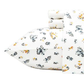 Living & Co Sheet Set Cotton Flannel Beatrice White