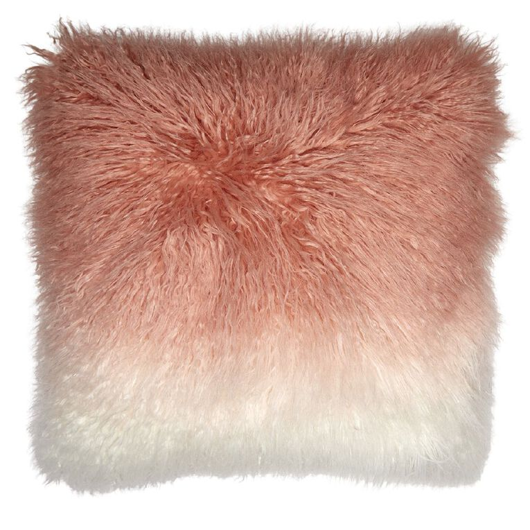 Living & Co Ombre Faux Mongolian Cushion Dusty Pink 45cm x 45cm, Pink, hi-res