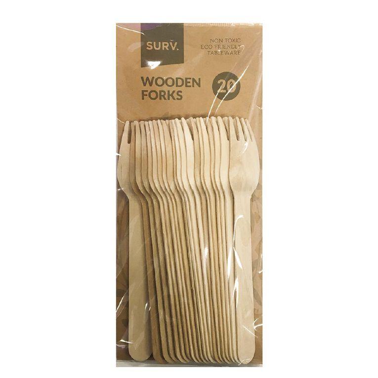 SURV. Wooden Forks Natural 20 Pack, , hi-res