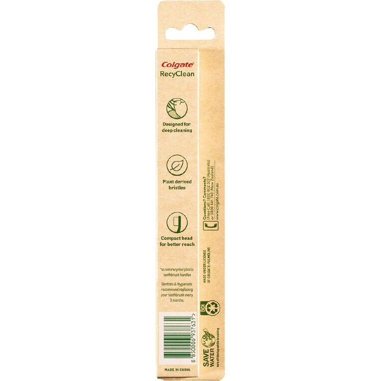 Colgate RecyClean Toothbrush Soft 100% Recycled Plastic Handle, , hi-res