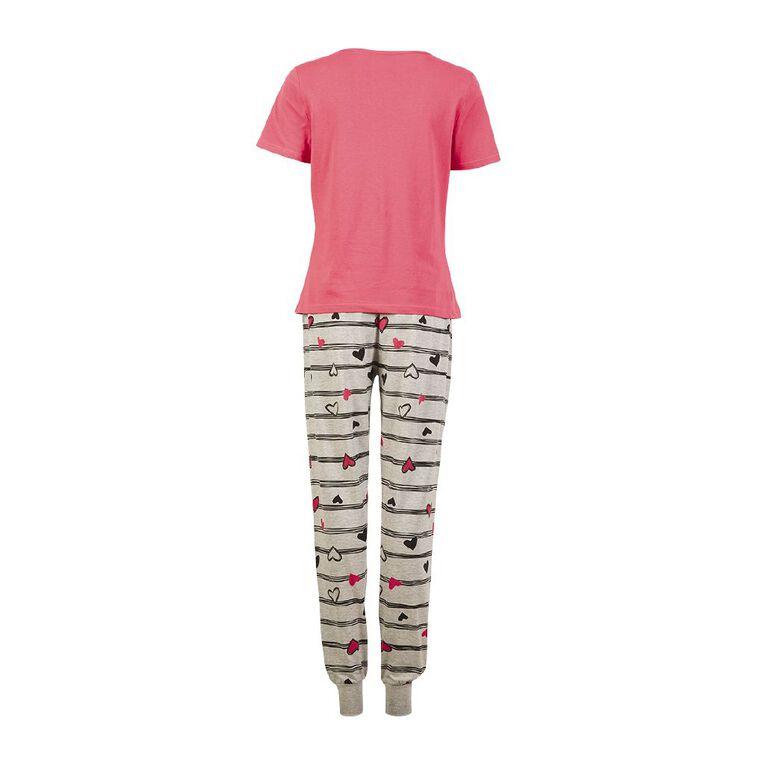H&H Women's Short Sleeves Pyjama Set, Pink Dark, hi-res