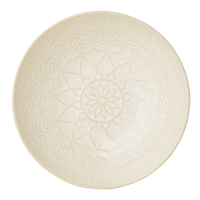 Living & Co Living & Co Glazed Moroccan Bowl Cream, , hi-res