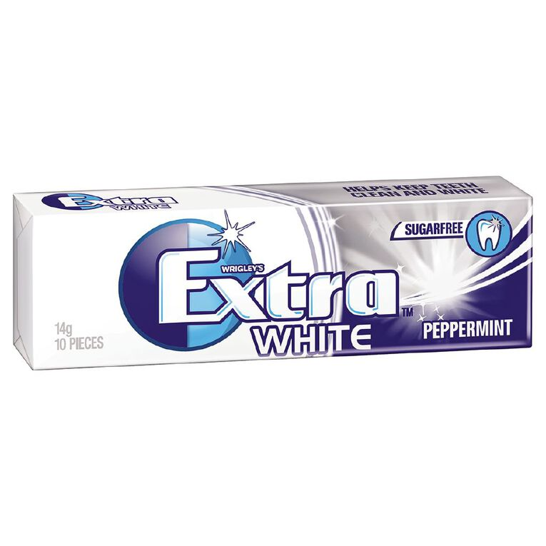 Extra White Peppermint Chewing Gum Sugar Free 10 Piece 14g, , hi-res