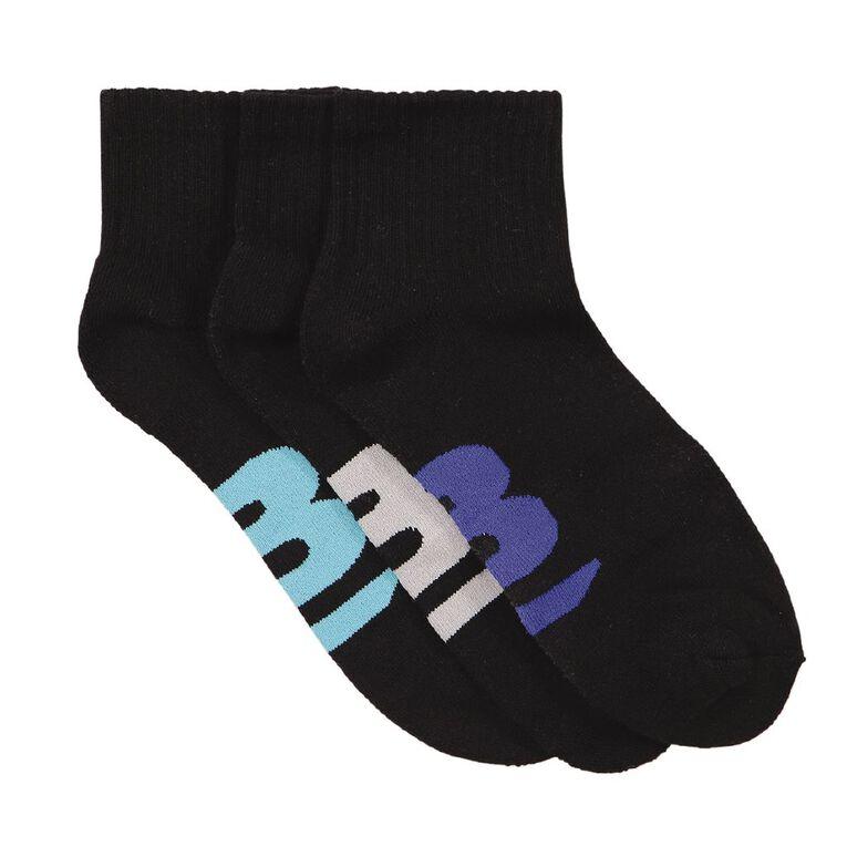 B FOR BONDS Super Comfy Men's Quarter Crew Socks 3 Pack, Black W21 08K, hi-res