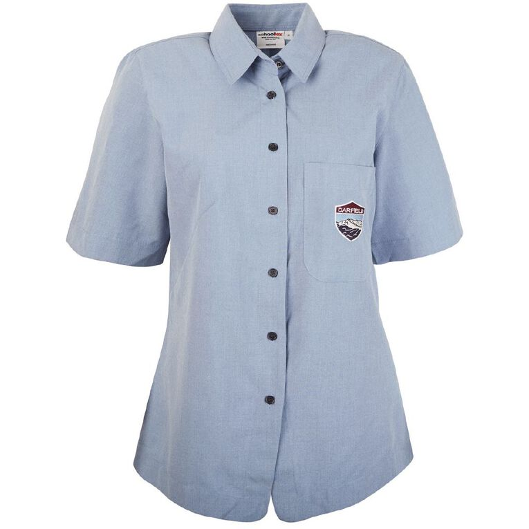 Schooltex Darfield High Girls' Short Sleeve Shirt with Embroidery, Chambray, hi-res
