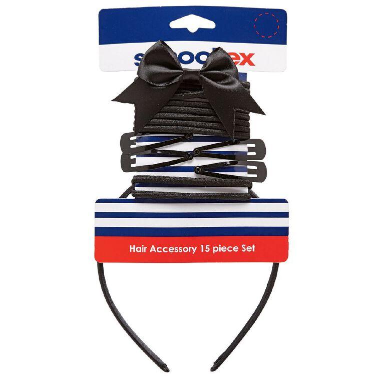 Schooltex Hair Accessories Set 15 Piece Set Black, , hi-res