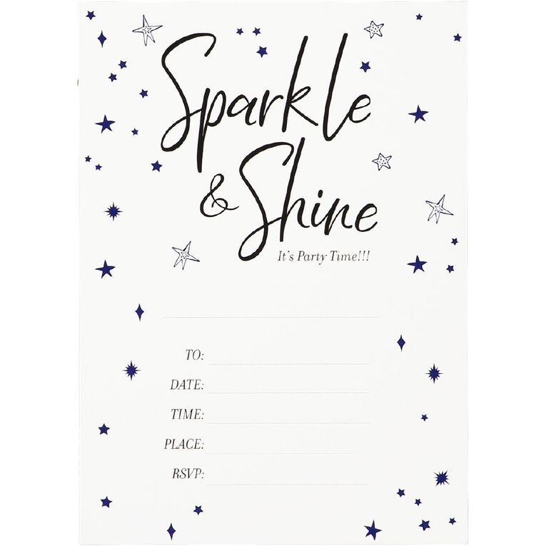 Party Inc Star Invitations with Envelopes 17.5cm x 12.5cm 8 Pack, , hi-res