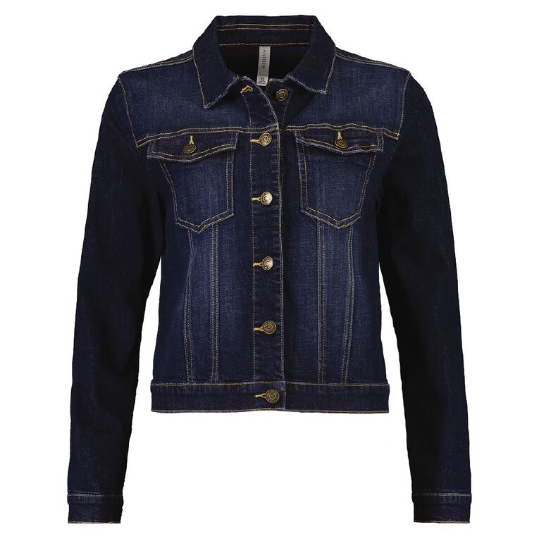 H&H Women's Denim Jacket, Denim Dark, hi-res