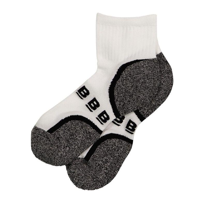 B FOR BONDS Men's Active Quarter Crew Socks 2 Pack, White, hi-res