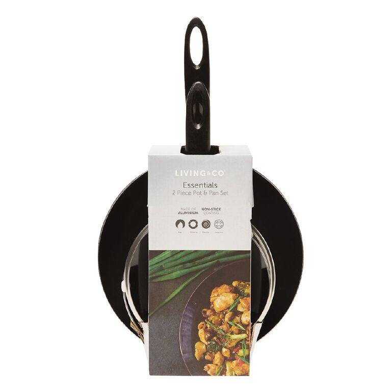 Living & Co Essential Cookware Set Black 2 Piece, , hi-res